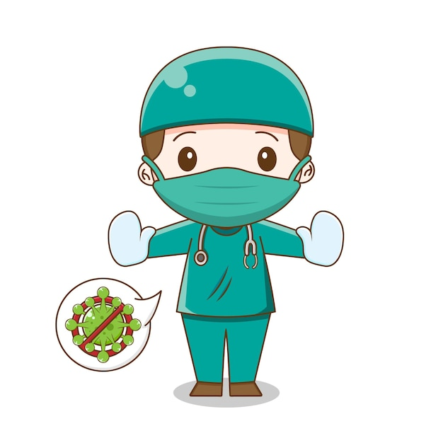 Симпатичный доктор в костюме хирургии изолирован Premium векторы