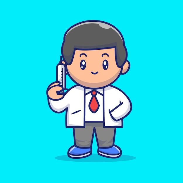 注射アイコンイラストかわいい医師。コロナマスコットの漫画のキャラクター。分離された人アイコンコンセプト Premiumベクター