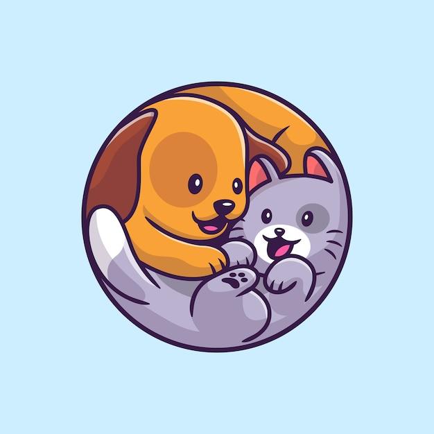 귀여운 강아지와 고양이 만화 그림. 동물 야생 동물 아이콘 개념 프리미엄 벡터