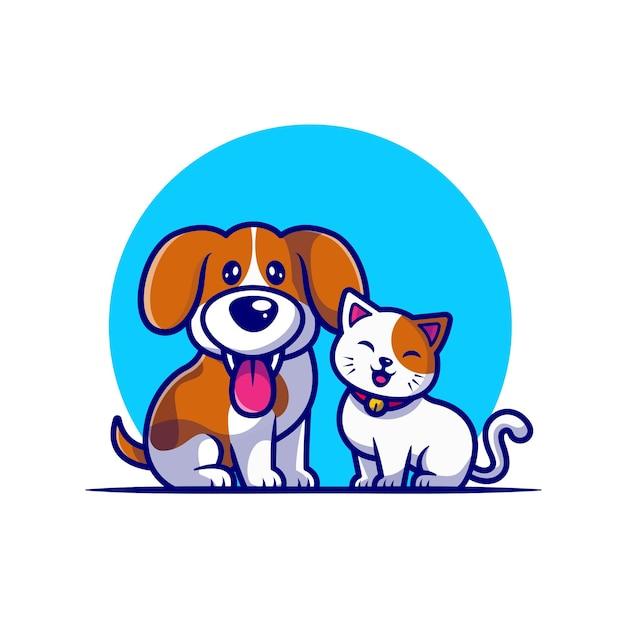 귀여운 강아지와 고양이 친구 만화 무료 벡터