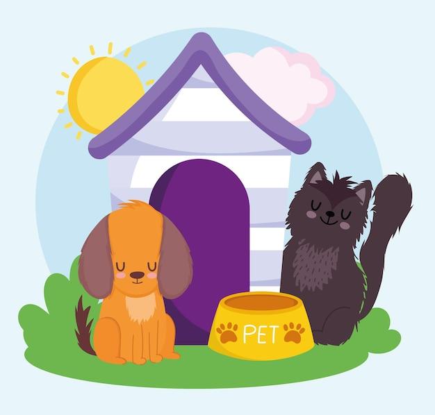 Милая собака и кошка с деревянным домом еда домашних животных векторная иллюстрация Premium векторы