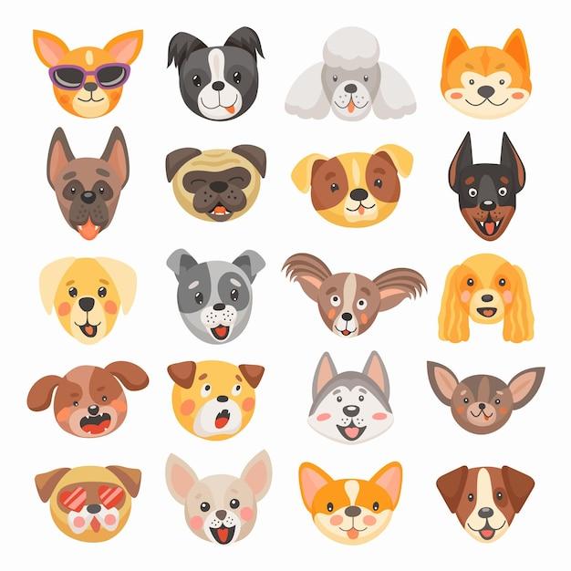 Милая собака и щенок сталкиваются с мультяшным дизайном домашних животных Premium векторы