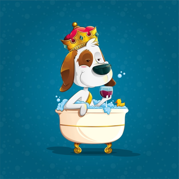 Premium Vector Cute Dog Bathing With Crown In An Bathtub Little dog with a crown in the shape of a heart. https www freepik com profile preagreement getstarted 1789263