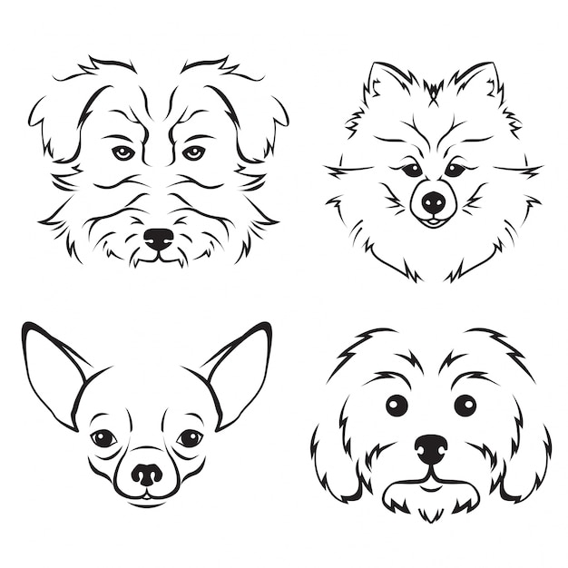 Cute Dog Breed Face Illustration Set Free Vector