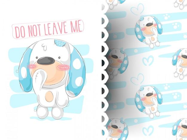 Cute dog cartoon hand drawn vector illustration Premium Vector
