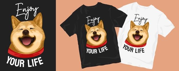 귀여운 강아지 만화 티셔츠 디자인 프리미엄 벡터