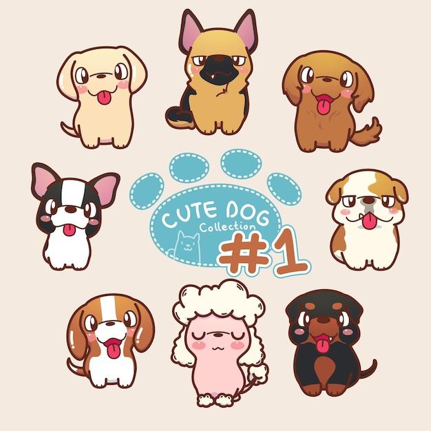 Коллекция милых собак Premium векторы