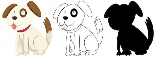 Free Vector Cute Dog In Colour And Outline And Silhouette