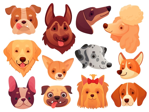 Cute dog face. puppy pets, dogs animals breed and puppies heads set Premium Vector