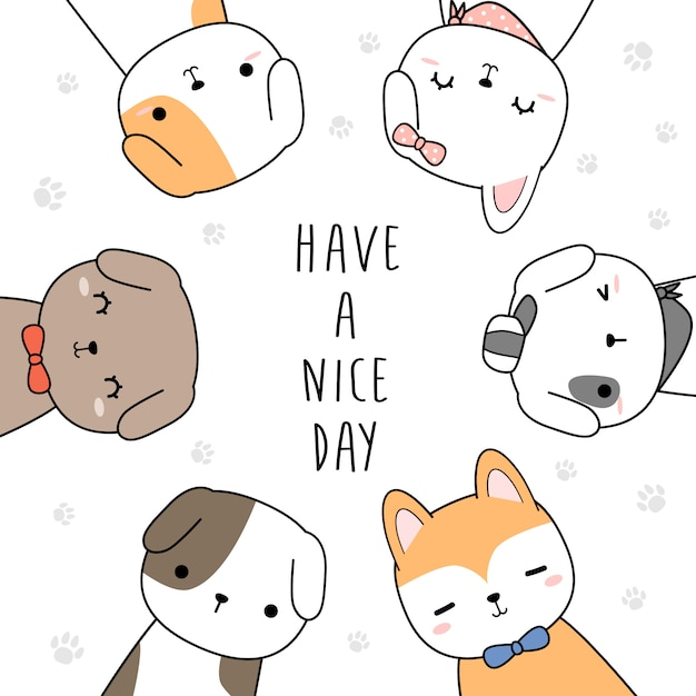 Cute dog greeting cartoon doodle background Vector ...