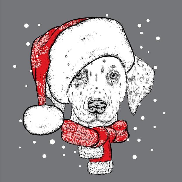 クリスマス帽子とサングラスでかわいい犬。グリーティングカードやポスターのイラスト。冬、クリスマス、新年。子犬。 Premiumベクター