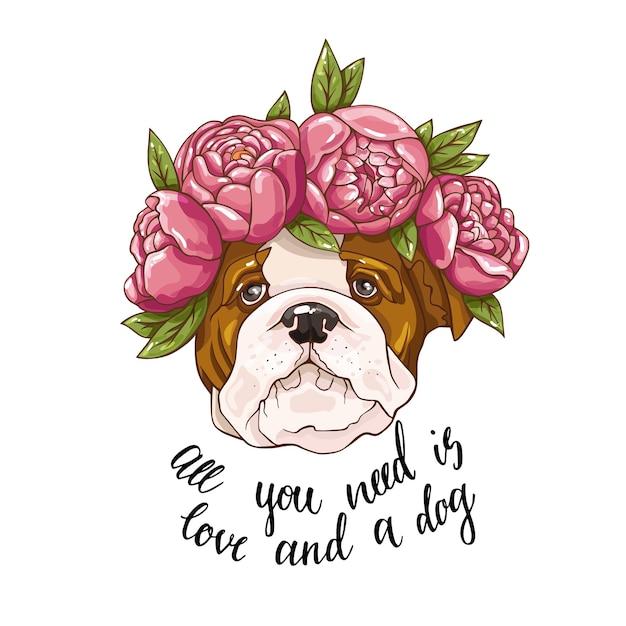Милая собака в розовых цветах с текстом иллюстрации изолированный фон Premium векторы