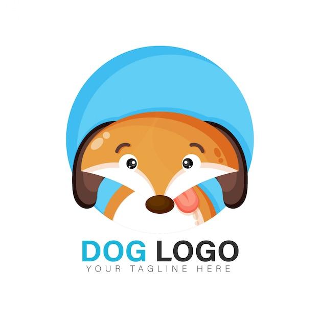 귀여운 강아지 로고 디자인 프리미엄 벡터