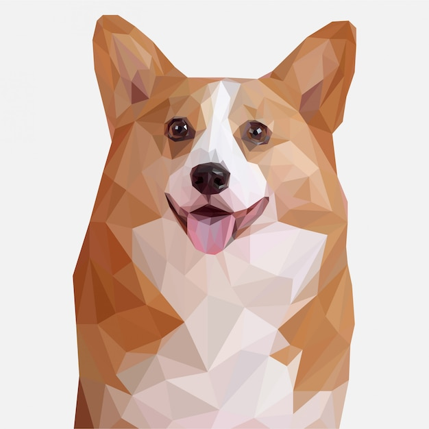 Cute dog lowpoly illustration Premium Vector