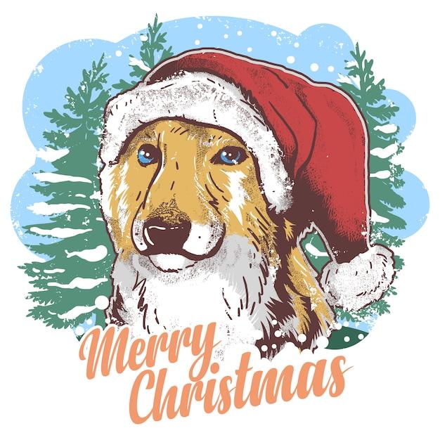 Cute dog santa claus christmas hat with snow artwork Premium Vector