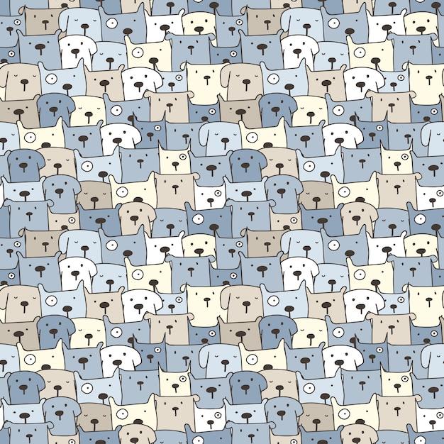 Cute dog seamless pattern background Premium Vector