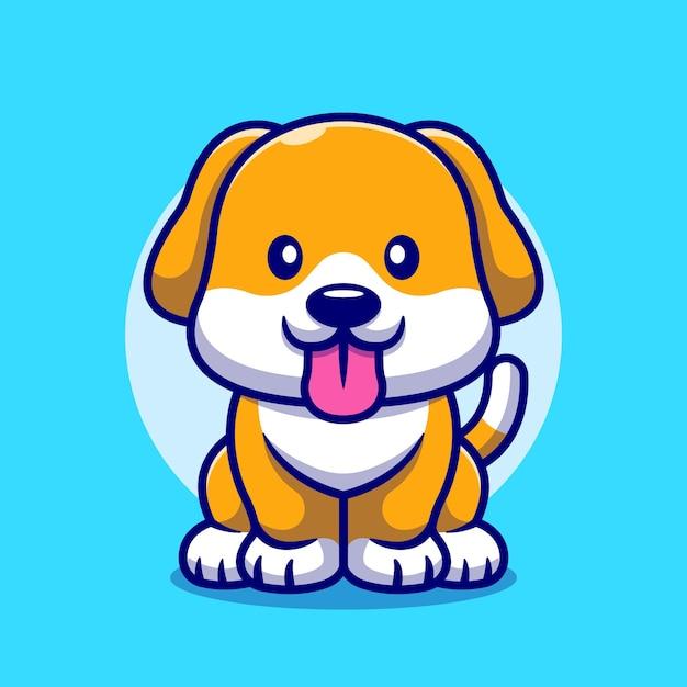 만화 아이콘 그림 밖으로 그녀의 혀를 집어 넣는 귀여운 강아지. 무료 벡터