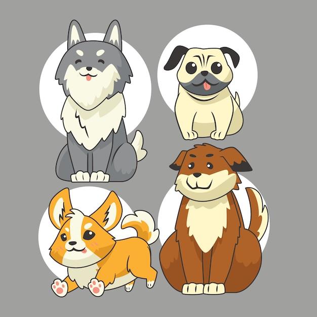 Набор векторных жестов для милой собаки Premium векторы
