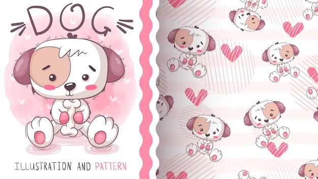 骨付きのかわいい犬-シームレスなパターン Premiumベクター