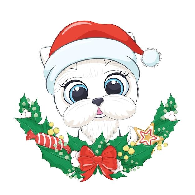 クリスマスリースとかわいい犬。 Premiumベクター