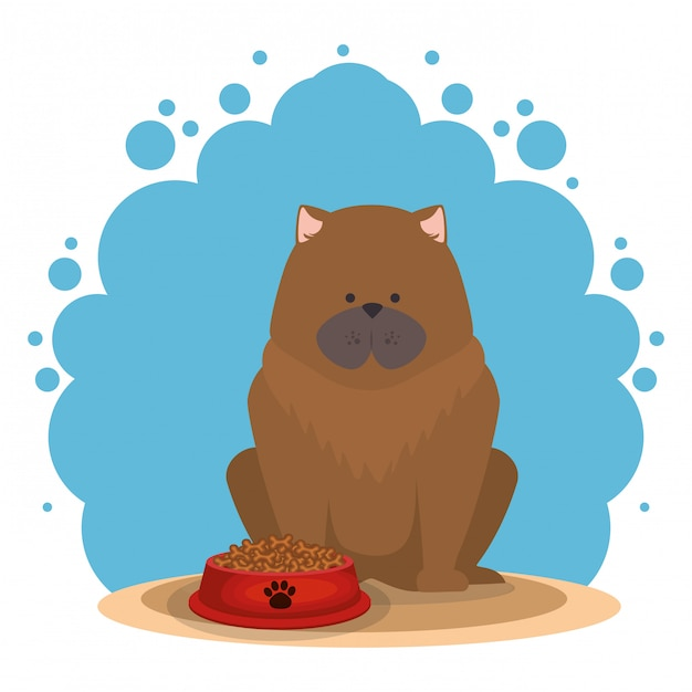 Cute dog with food Free Vector