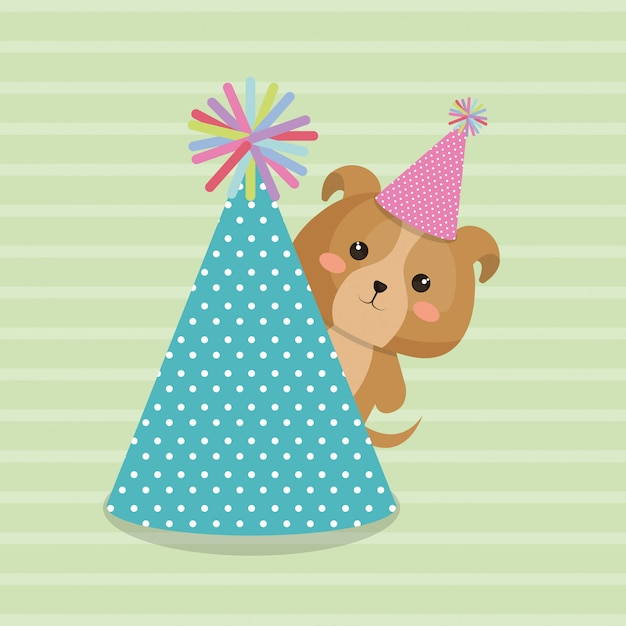 Cute dog with hat party kawaii birthday card Free Vector