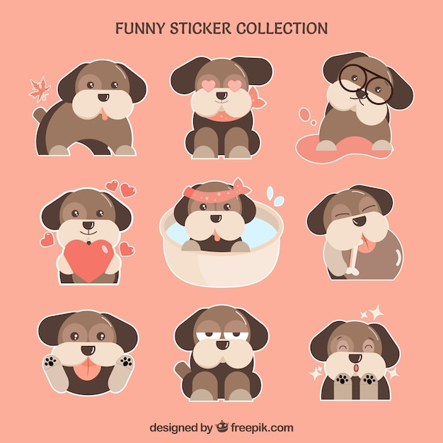 Cute doggy stickers set Free Vector