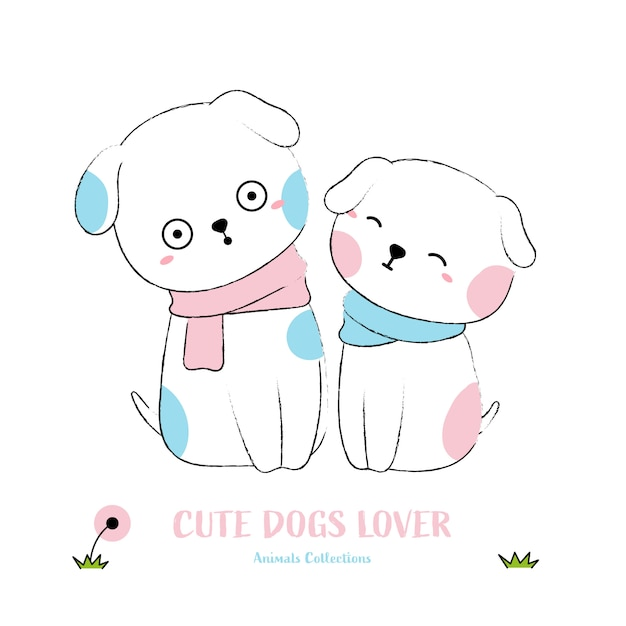 Cute dogs animal hand drawn style Premium Vector