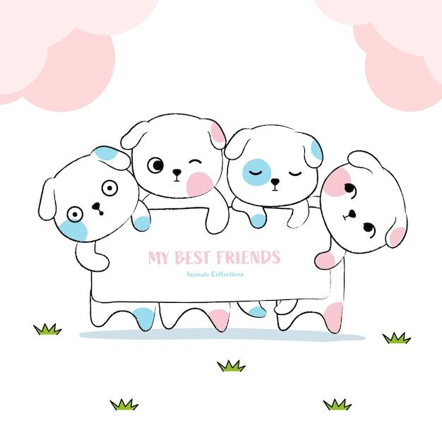 Cute dogs animal hand drawn style Premium Vector
