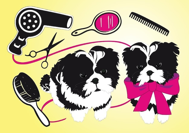 Cute Dogs Beauty Salon Free Vector