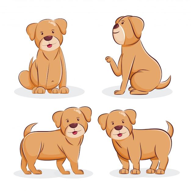 かわいい犬漫画イラスト Premiumベクター
