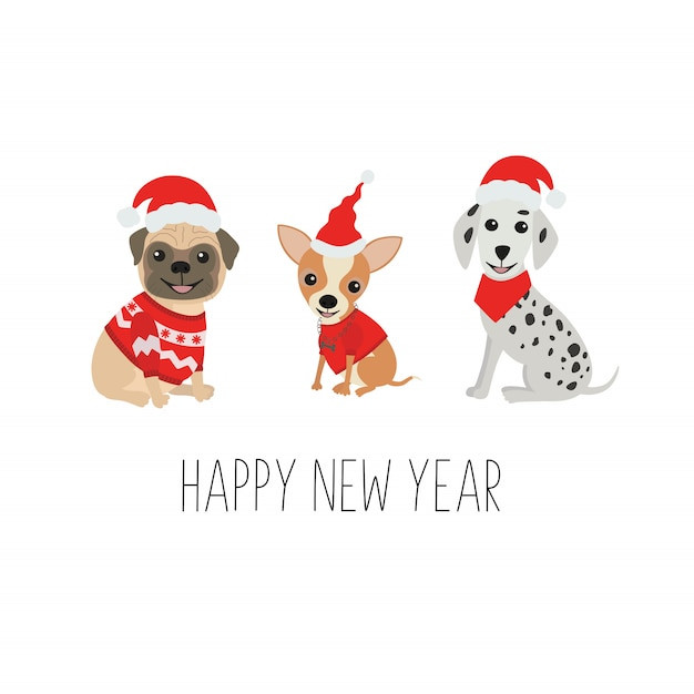 Cute dogs in funny christmas costumes Premium Vector
