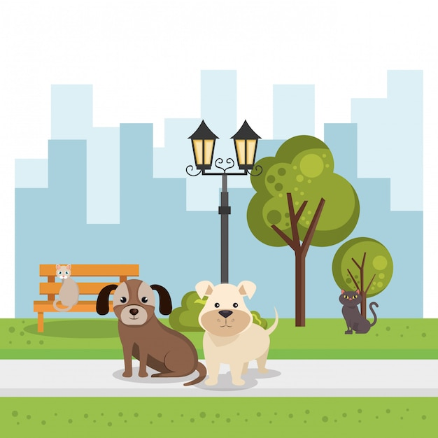 Cute dogs in the park scene Free Vector