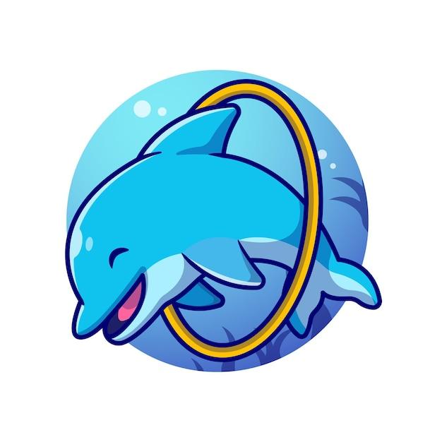 海の漫画イラストでかわいいイルカのアトラクション。 無料ベクター