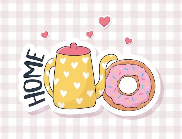 카드 스티커 또는 패치 장식 만화 귀여운 도넛과 주전자 사랑 물건 프리미엄 벡터