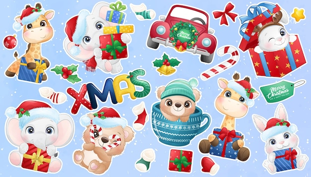 Cute doodle animal for christmas day sticker collection Premium Vector