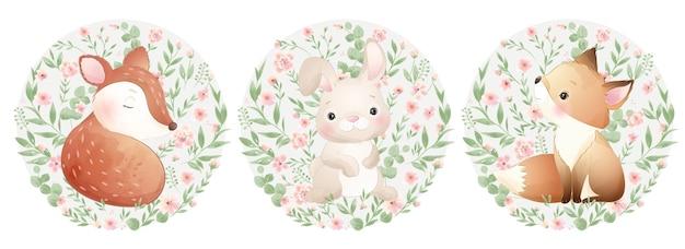 꽃 세트 일러스트와 함께 귀여운 낙서 동물 프리미엄 벡터
