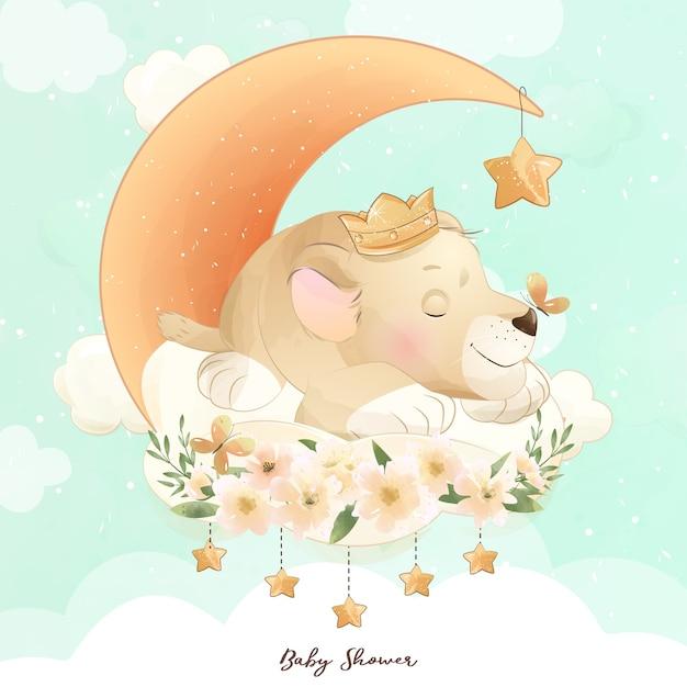 水彩イラストとかわいい落書き赤ちゃんライオン Premiumベクター