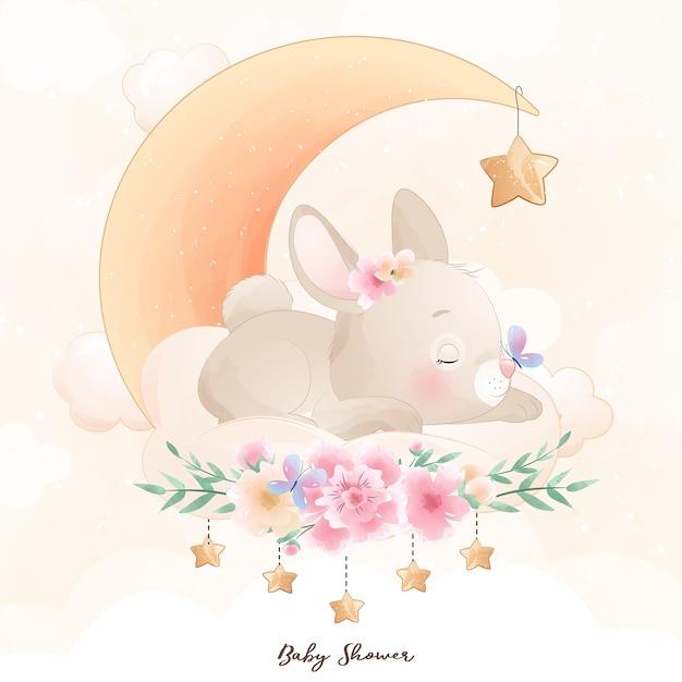 Милый кролик каракули с цветочной иллюстрацией Premium векторы