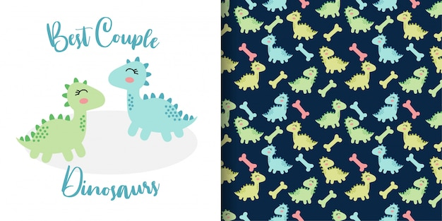 Cute doodle couple  dinosaurs hand drawn with seamless pattern set Premium Vector