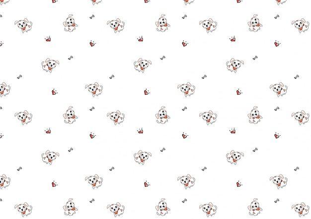 Cute doodle dog cartoon seamless pattern vector  Vector   Premium