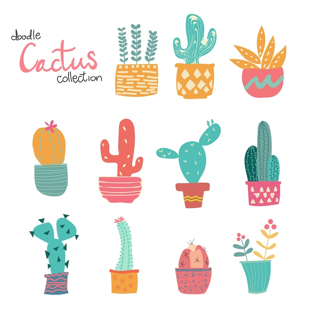 Cute doodle hand drawn pastel cactus collection Premium Vector