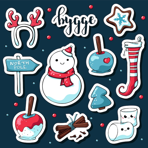 Cute doodle hygge stickers Premium Vector