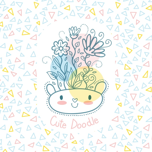 Cute Doodle Illustration with cute bear and flowers Premium Vector