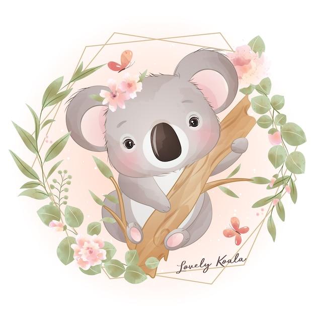 꽃 일러스트와 함께 귀여운 낙서 코알라 곰 프리미엄 벡터