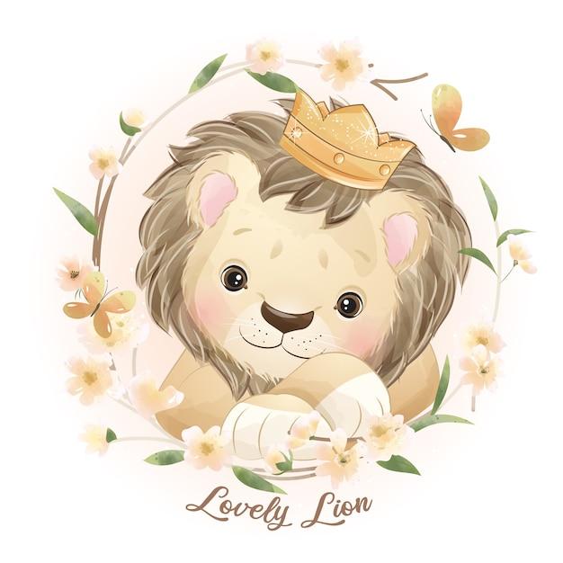 꽃 일러스트와 함께 귀여운 낙서 사자 프리미엄 벡터