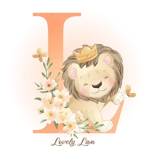 수채화 일러스트와 함께 귀여운 낙서 사자 프리미엄 벡터