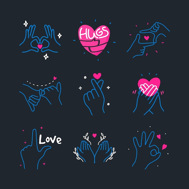 Cute doodle love heart made with hands gesture sign hand drawn elements illustration Premium Vector
