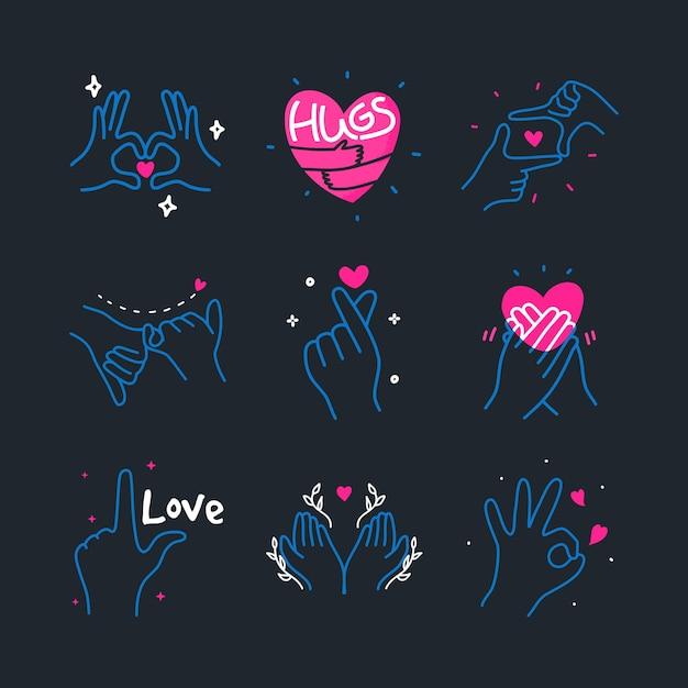 手ジェスチャーサイン手描き要素イラストで作られたかわいい落書き愛の心 Premiumベクター