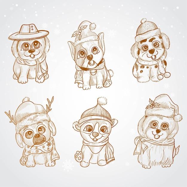 손으로 그리는 스케치 디자인 크리스마스 귀여운 낙서 강아지 무료 벡터